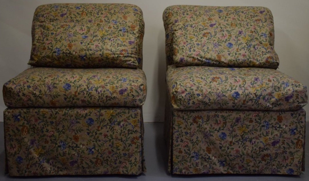 Pair of Domain Glazed Floral Chintz Slipper Chairs