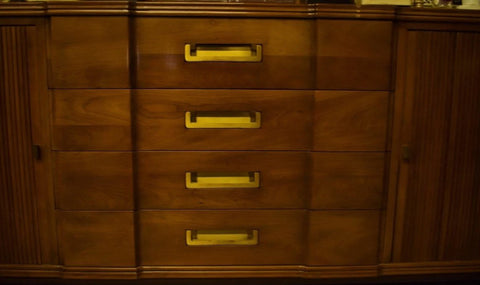 Spectacular c50s John Widdicomb Grand Rapids (4) Campaign Drawer Cabinet w Accordion Slider Side Flanking Vertical Mounts
