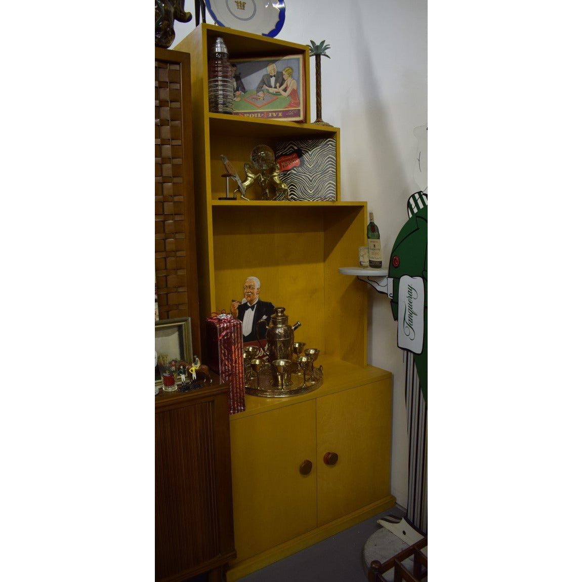 Pair of Oak Veneer Side Cabinets w/ 3 Tier Shelving