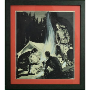 Abercrombie & Fitch 'Camping Under The Stars' Gouache Signed E.V. Hilleary & Dated 1935