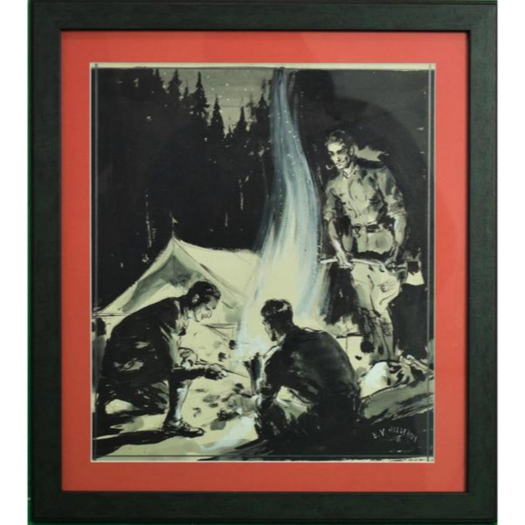 Abercrombie & Fitch 'Camping Under The Stars' 1935 Gouache by E.V. Hilleary
