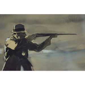 """Courtesy of Abercrombie & Fitch Rail Shooting"" c.1930's Watercolor by H. Viucentun"