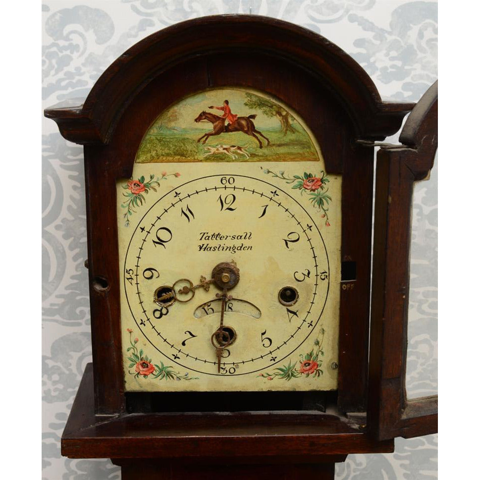 English Mahogany Diminutive Longcase Clock. Dial signed Tattersall Haslingden
