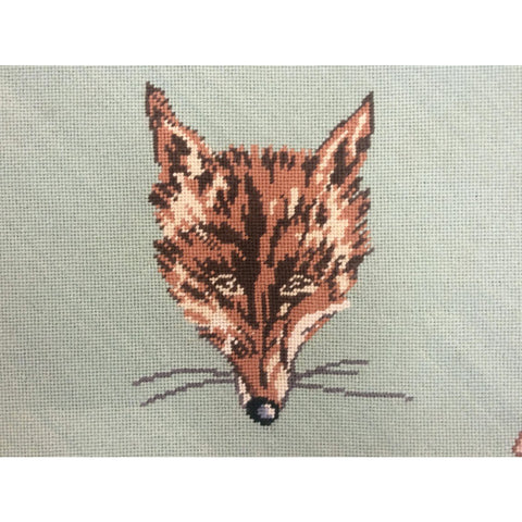 Rombout Hunt Custom-Needlepoint Foxhead Panel on Board