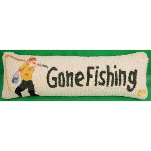 'Gone Fishing' Hook-Stitched Pillow