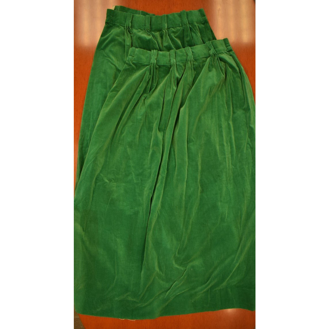 Pair of Billiard Green Felt Velvet Curtains w/ 11 Pinch Pleats