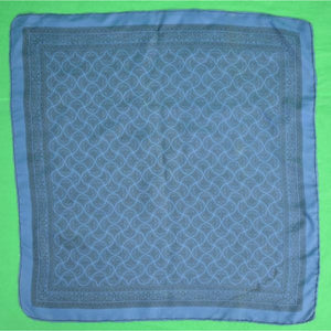 'English Silk Foulard Mid-Blue Pocket Sq'