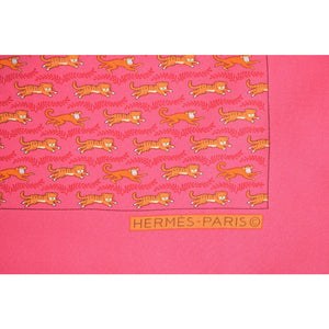 Hermes of Paris Tiger Print Silk Pocket Square