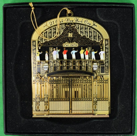"""21"" Club Brass Iron Gate Christmas Jockeys Ornament"" NiB!"