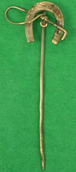 Victorian Gold Horse Shoe & Crop Stick Pin
