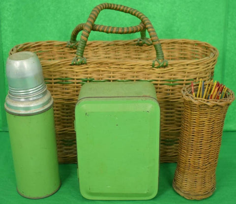 Brooks Brothers Wicker Adirondack Tote w/ Tin Picnic Box w/ 4 Cups,Thermos & Wicker Vase, Holding Wooden Spears