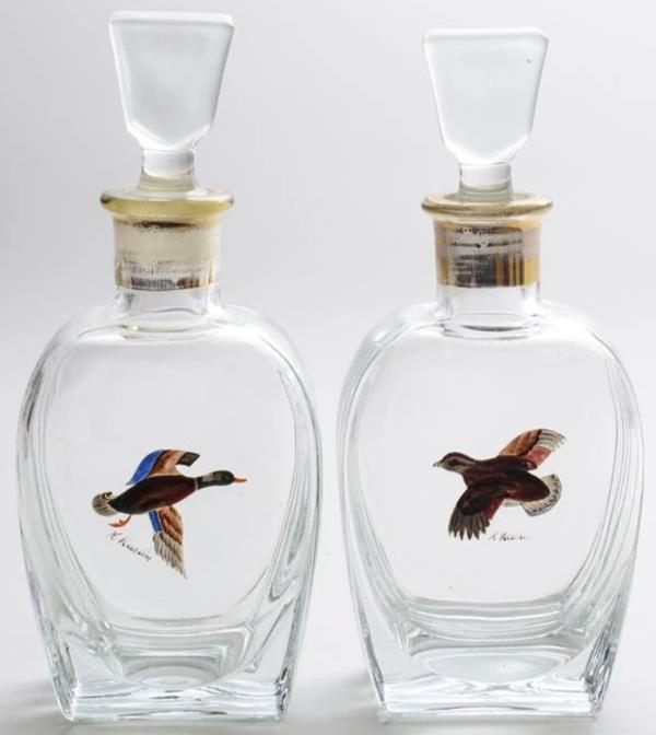 Pair of Hand-Painted Glass Grouse & Mallard Decanters & Stoppers from the CZ Guest estate