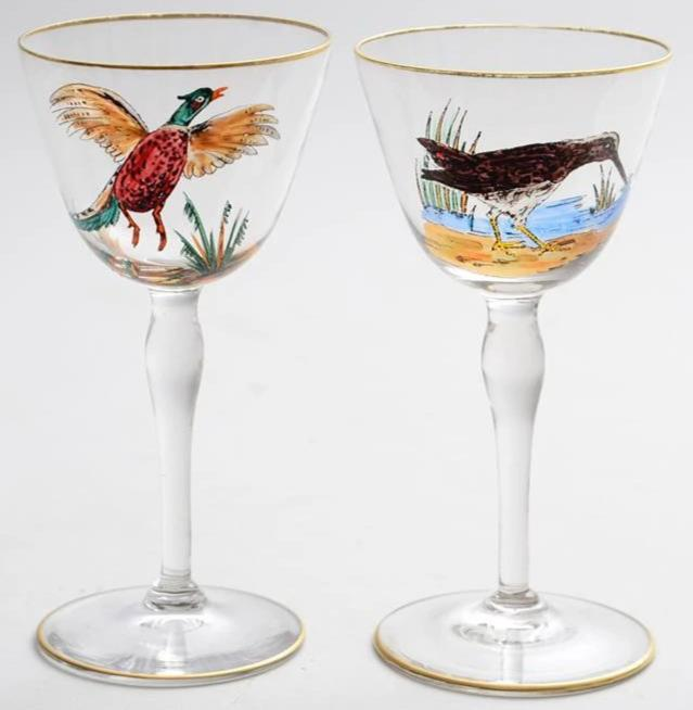 Pair of Hand-Painted Gamebird Sherry Glasses from the CZ Guest estate