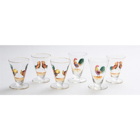 Set of (6) Hand-Painted 'Rooster Cock' Shot Glasses from the CZ Guest estate