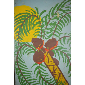 Pair of Puppeteer Hand-Painted Palm Tree Reversing to Pink Bunny Top Hat Panels