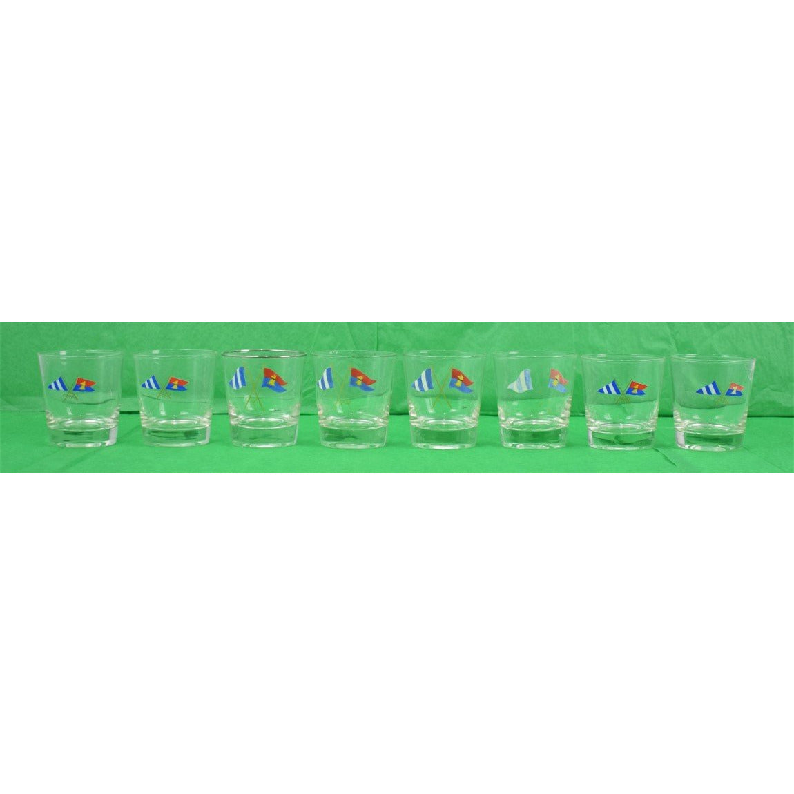 Set of 4 Carwin X-ed Burgee Flag Drinks Glasses