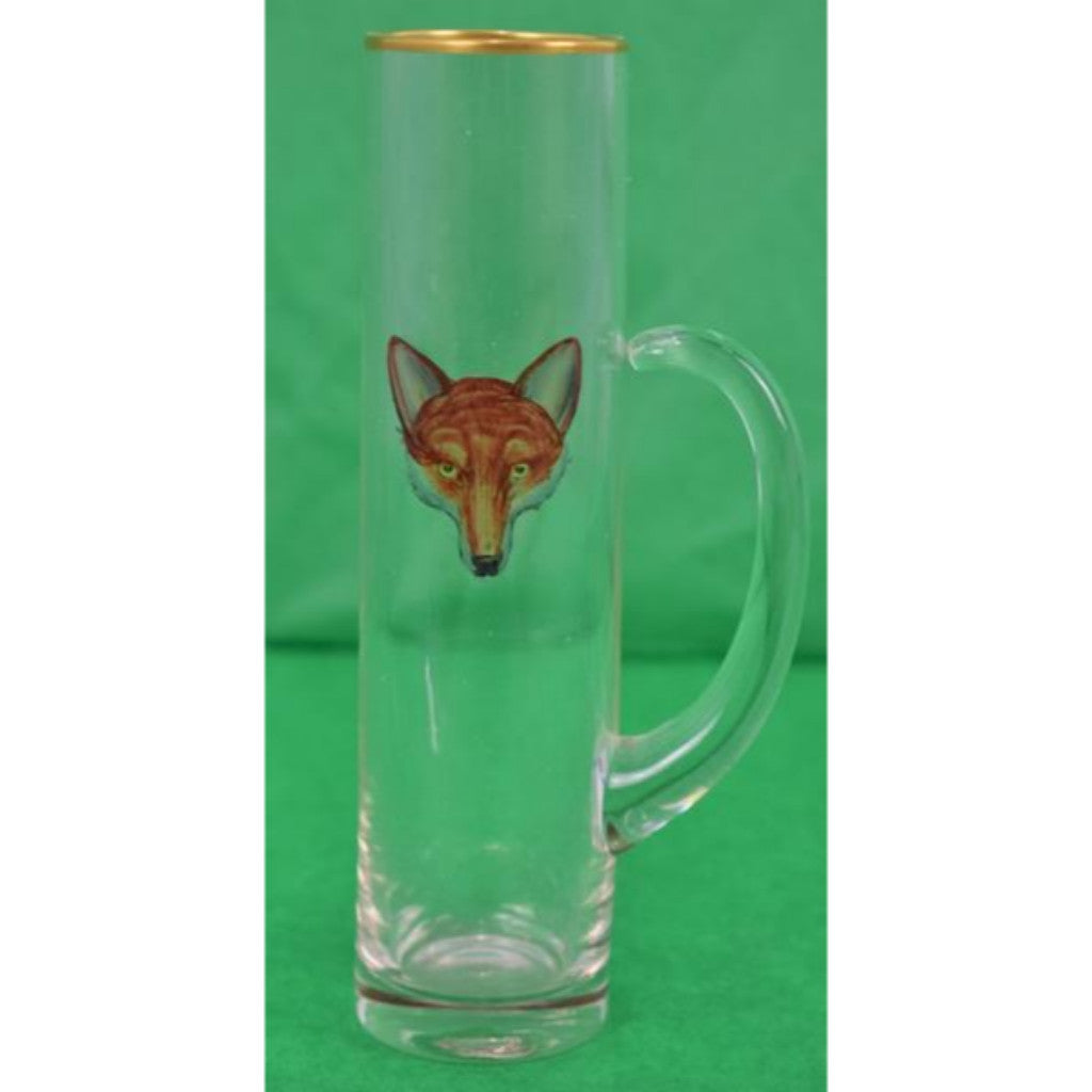 'Set of 4 Stem-Handle Glassware w/ Hand-Painted Fox-Head Motif 'by Cyril Gorainoff