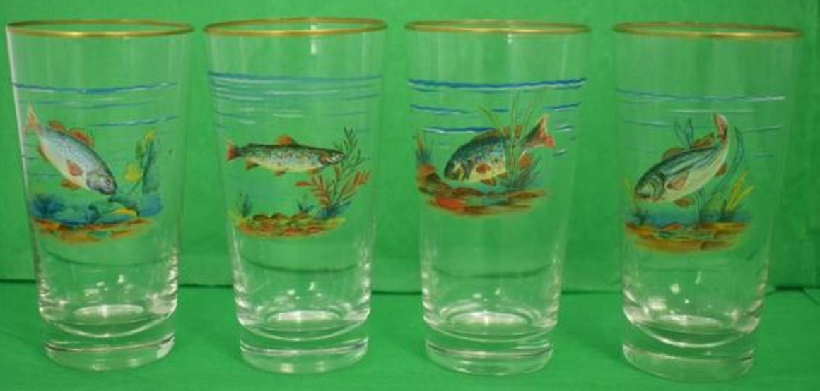 'Set of 4 Hand-Painted Game Fish High-Ball Glasses'