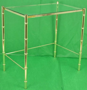 Gilt Brass Bamboo Cocktail Table w Glass Counter
