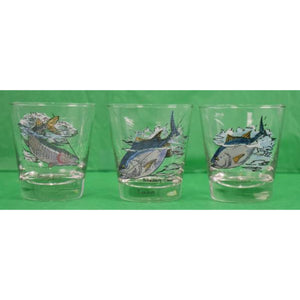 'Set of 3 Schaldach/ Carwin Game Fish Old-Fashioned c.1950's Glasses'