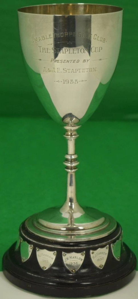 Mablethorpe Golf Club The Stapleton Trophy 1933 on Ebony Plinth