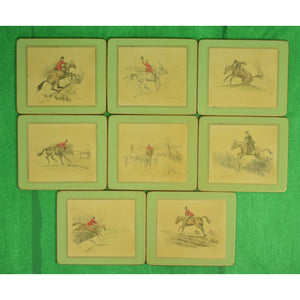 Rare Set of (8) Peter Biegel (1913-1988) FoxHunt Table Mats