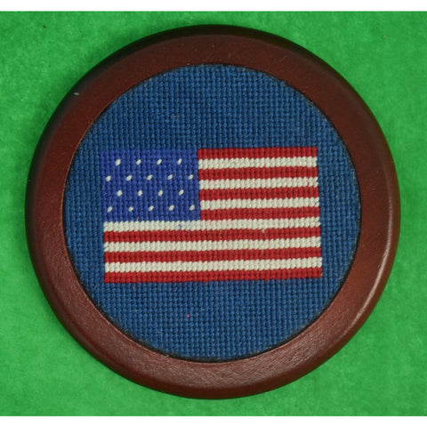 Set of 4 Custom Needlepoint US Flag Coasters