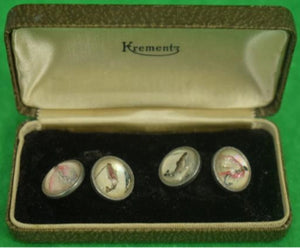 'Boxed Pair of Crystal Intaglio Trout Fly c.1940's Cuff Links'