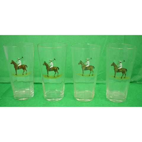 Set of (11) Hand Enamel Painted Polo Player High-Ball Glasses