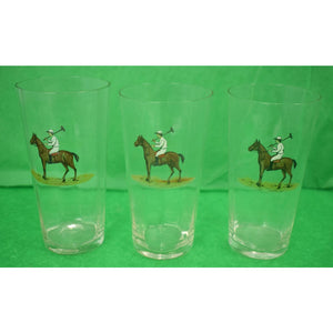 Set of 11 Hand Enamel Painted Polo Player High-Ball Glasses