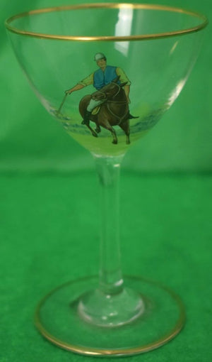 Set of 16 Polo Player Hand-Painted Sherry Glasses
