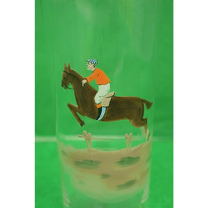 Set of 3 Hand-Painted Steeplechase Jockey High-Ball Glasses