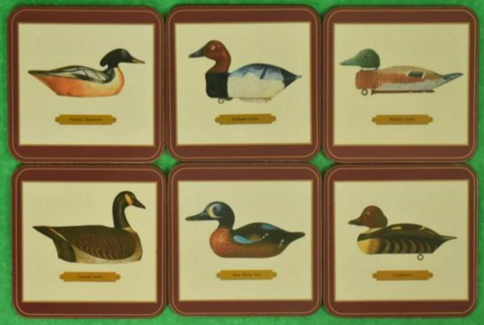 'Set of 6 Duck Decoy Coasters' New in Box!
