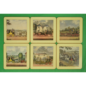 Set of 6 English Coaching Coasters