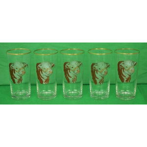 'Set of 5 Frank Vosmansky 'Hereford Bull' High-Ball Glasses'
