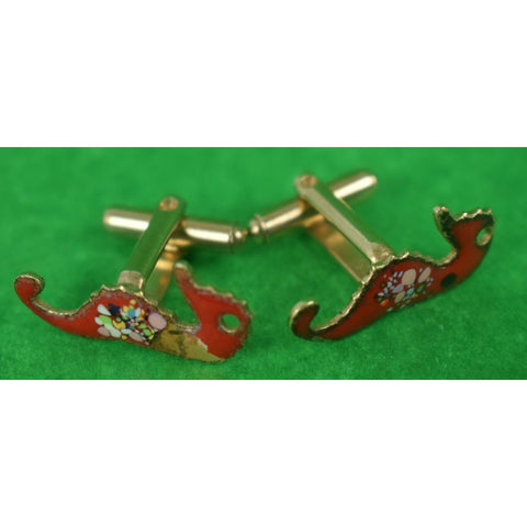 Pair of Enamel Seahorse Art Deco Cufflinks