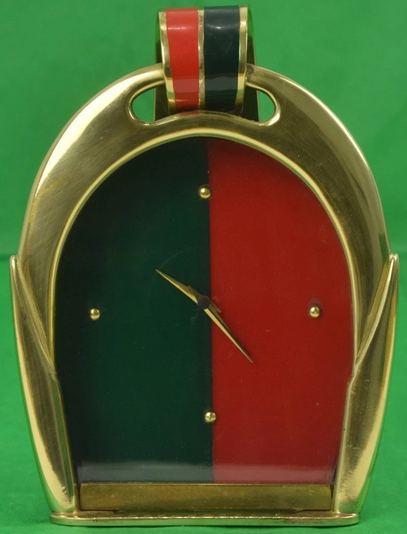 Gucci Brass Stirrup Equestrian Red & Green Stripe Enamel Easel Clock