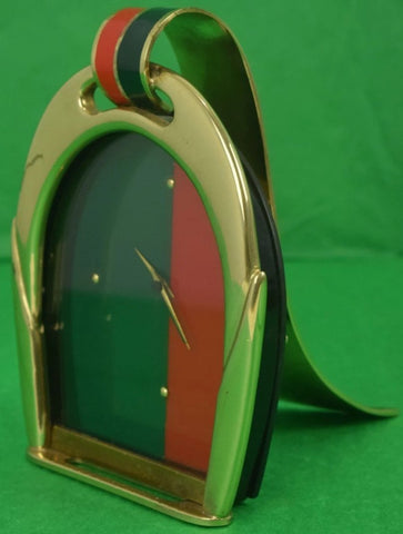 Gucci Brass Stirrup Equestrian Red & Green Stripe Enamel c70s Easel Clock