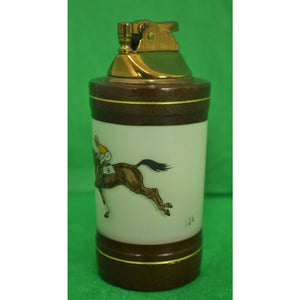 H Kauffman & Sons Jockey & Racehorse Porcelain Cigarette Lighter