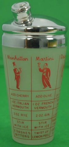Frosted Glass c30s Art Deco (6) Recipe Martini Shaker w/ Chrome Lid