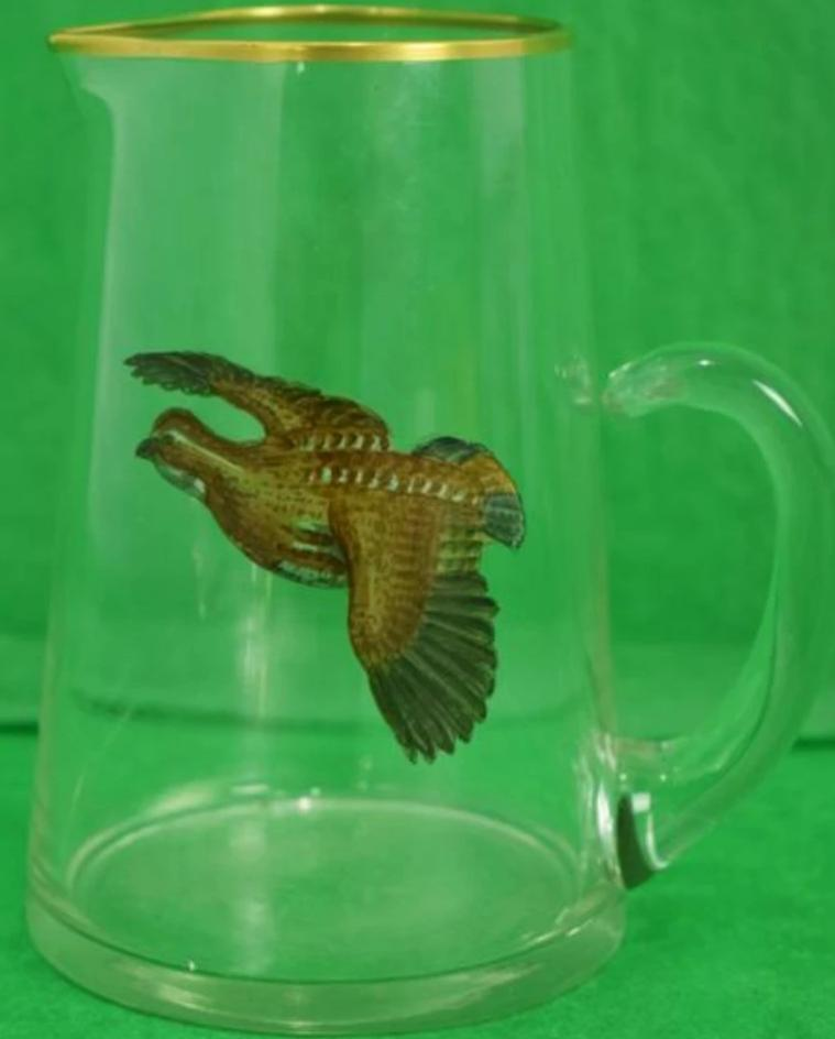 Hand-Painted Quail Cocktail Pitcher c.1950's by Frank Vosmansky for Abercrombie & Fitch