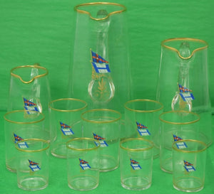 New York Yacht Club 12pc Glassware Signal Set from the Evelyn, built in 1901-1902 for John Hitchcock