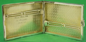 Abercrombie & Fitch Sterling Engraved c1934 Cigarette Case in Leather Pouch