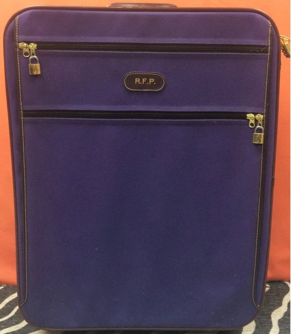 T. Anthony Purple Canvas Trolley Luggage Carrier w/ Air France Corcorde Tag