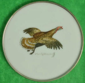 'Set of 3 Cyril Gorainoff Milk Glass Game Bird Coasters'