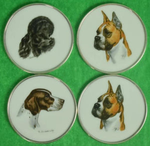 'Set of 4 Cyril Gorainoff for Abercrombie & Fitch Milk Glass c1940s Dog Breed Coasters'