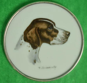 'Set of 4 Cyril Gorainoff for Abercrombie & Fitch Milk Glass c.1940's Dog Coasters'