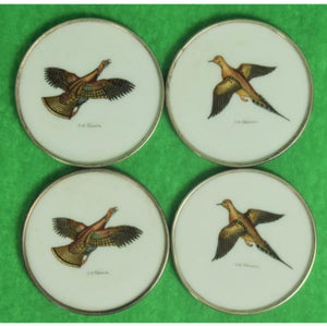 Set of 4 Abercrombie & Fitch Gamebird Milk Glass w/ Sterling Rim Coasters