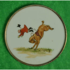 """Set of 8 Cyril Gorainoff Fox-Hunt Milk Glass Coasters w/ Sterling Rims"""