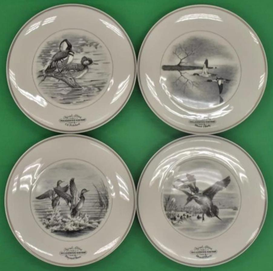 'Set of 4 Federal Duck Stamp Limoges French Plates by Maynard Reese'
